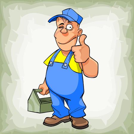ingeniero caricatura: fontanero hombre de dibujos animados en el guiño uniforme y mostrando el pulgar Vectores