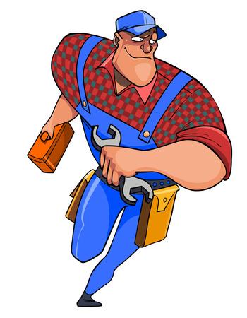 ingeniero caricatura: cartoon plumber man with tools on the run