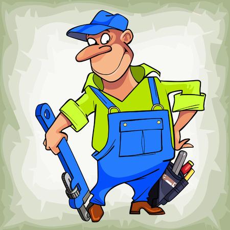ingeniero caricatura: de dibujos animados sonriente hombre de fontanero en un uniforme con herramientas Vectores