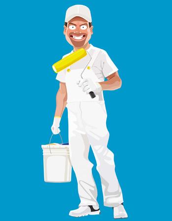 ingeniero caricatura: caricatura sonriente pintor hombre con herramientas Vectores
