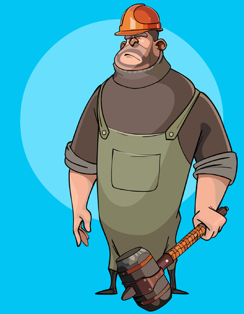 burly: cartoon burly male worker in a helmet with a hammer in his hands