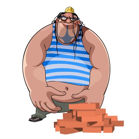 ingeniero caricatura: de dibujos animados de grasa constructor corpulento en un casco con ladrillos