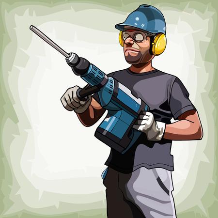 ingeniero caricatura: hombre de dibujos animados en un casco con un taladro grande Vectores