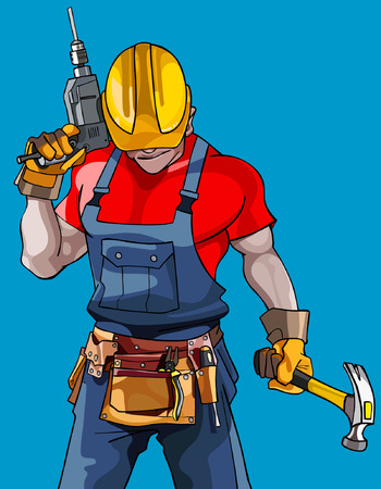 cartoon man in a helmet with a drill with a hammer and tools