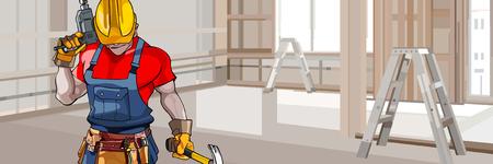 ingeniero caricatura: hombre de dibujos animados en un casco con un taladro con las herramientas en el apartamento