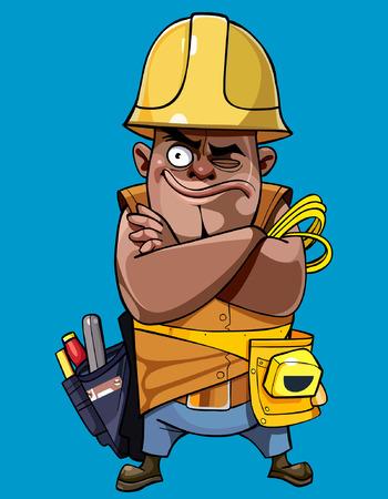 ingeniero caricatura: Hombre de la historieta en un casco con herramientas de pie con los brazos cruzados