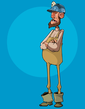ingeniero caricatura: de dibujos animados del hombre del trabajador en un casco se coloca con los brazos cruzados