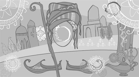 Dessin Abstraction De Style Oriental Ville Arabe Clip Art Libres ...