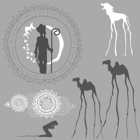 동양의 패턴 상상의 동물의 사람들