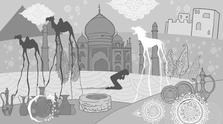 imaginary: Drawing abstraction in oriental-style Temple street imaginary animals Illustration