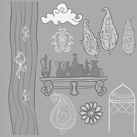 oriental pattern trees river pitchers Illustration