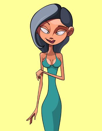 brunette: cartoon brunette woman in a dress