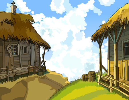 cartoon courtyard with rustic wooden buildings