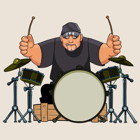 hefty: cartoon hefty man drummer performs on drums