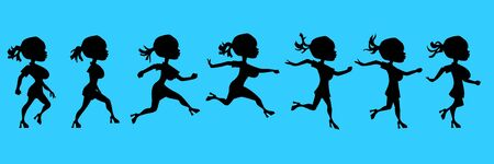cartoon silhouette of a running woman Illustration
