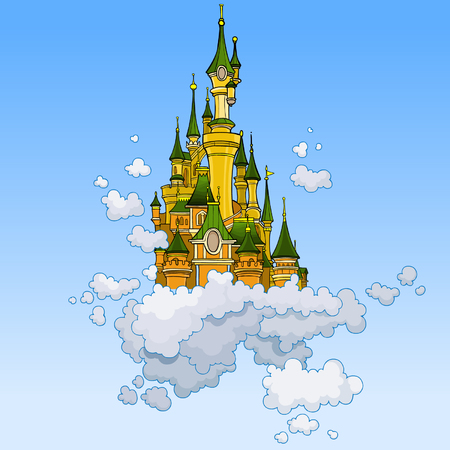 cartoon fantasy castle flying in the clouds Illustration