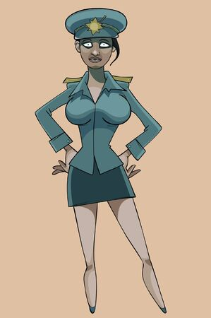 cartoon serious woman in police uniform Illustration