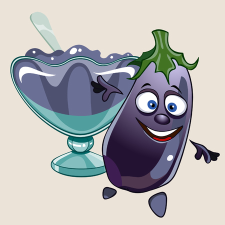 cheerful cartoon eggplant and vase with jam