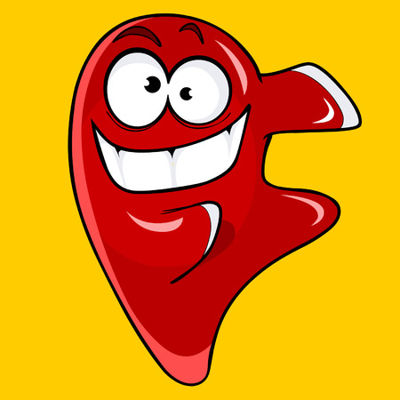 cartoon character cheerful red drop
