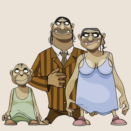 goblins: cartoon family scary goblins Illustration