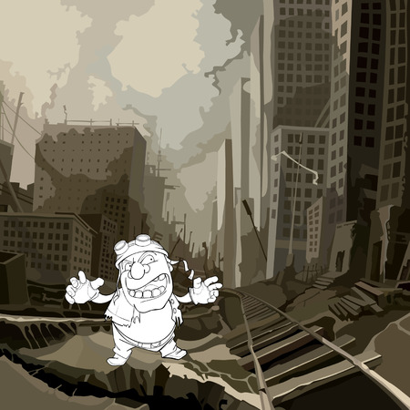 cartoon sketch of a crazy man in a ruined city after the apocalypse