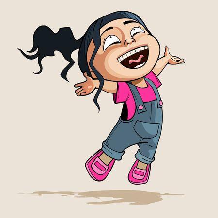 joyfully: cartoon enthusiastic little girl joyfully jumps