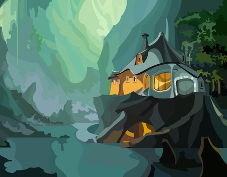 cartoon fantastic house on a cliff in the mountains