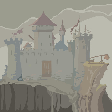 chivalry: cartoon gray medieval fortress towers on a rock