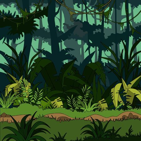 cartoon green thickets in the jungle Illustration