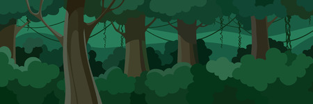 cartoon summer forest with green lush foliage