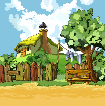 cartoon village house with a courtyard in the summer Illustration