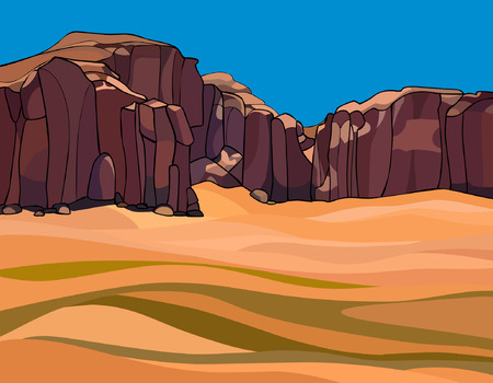 cartoon desert with the red rocks