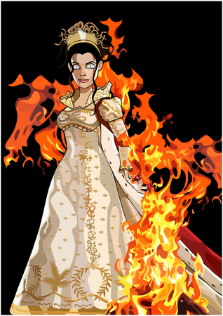 cartoon fairy queen formidable in a dress with a mantle in the fire