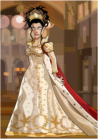 cartoon fairy queen in a luxurious dress with a mantle Illustration