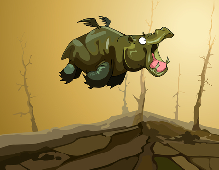 cartoon fairy flying hippopotamus with wings