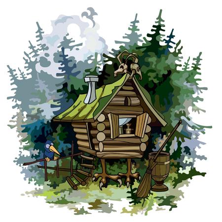 forrest: cartoon fairy hut on chicken legs in woods