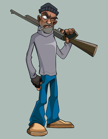cartoon man with a gun angrily staring