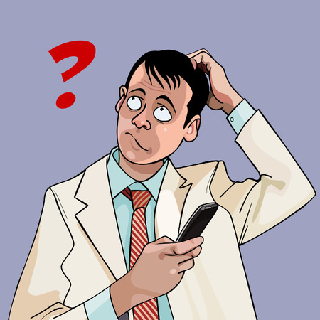puzzled: cartoon man with phone puzzled question Illustration