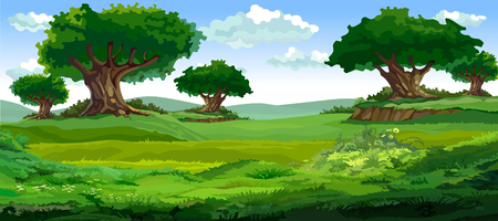 cartoon summer background with big trees in the green meadows
