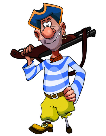 cheerful cartoon legged pirate with weapon