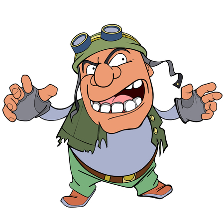 frightening: cartoon character scary frightening man in a helmet Illustration