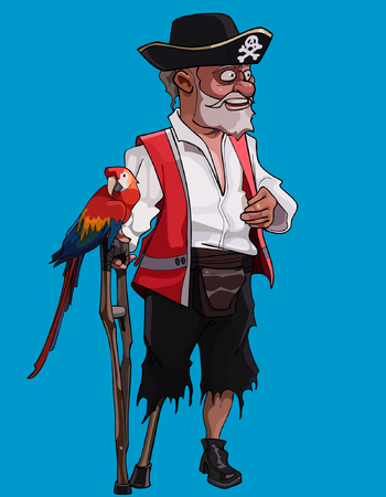 cartoon one-legged old pirate with a crutch and a parrot