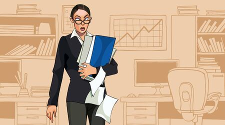 cartoon woman holding folders with documents standing in office