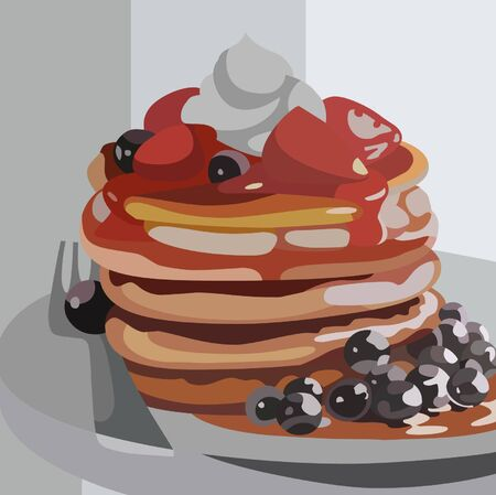drawn pancakes with berries on a plate Illustration