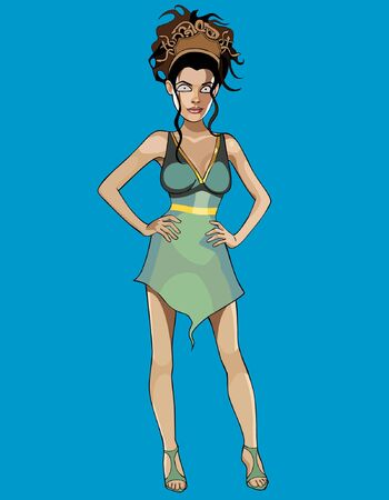 extravagant: cartoon woman in a fantasy outfit