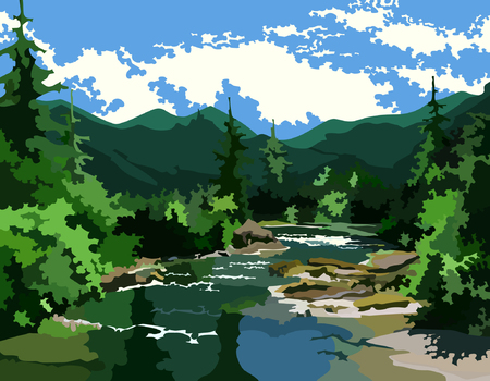 forrest: landscape river in the green forest at the foot of the mountains