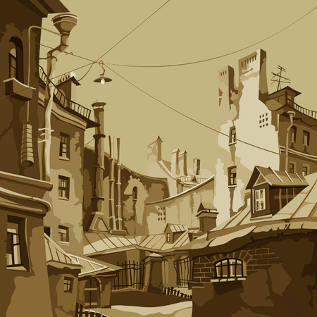 monochrome cartoon yard among the old dilapidated houses Illustration