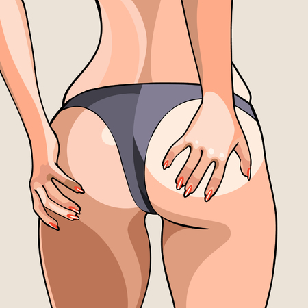 buttocks: cartoon sexy female buttocks in a thong Illustration