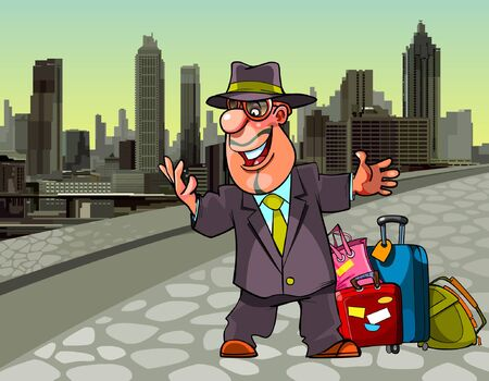 cartoon cheerful man with the suitcases in a big city Illustration