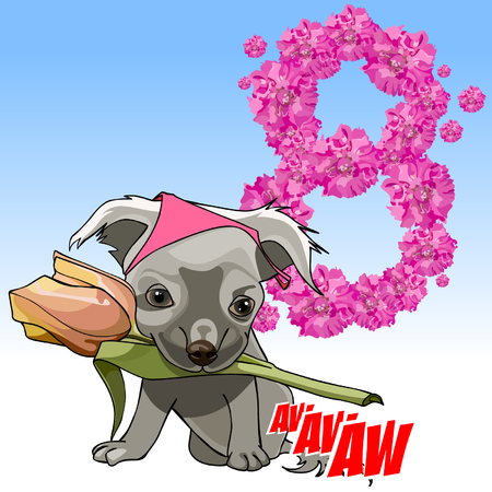 march 8: cartoon cute puppy with a flower in his mouth congratulating on March 8